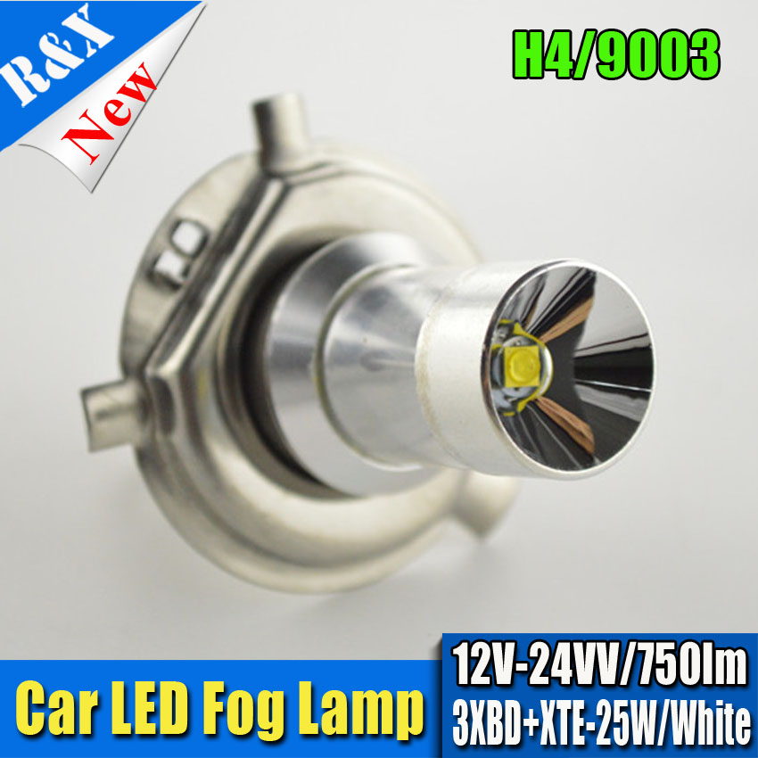 1pc 25W 12-24V Car H4 LED Bulb XBD+XTE Canbus No Error Auto Moto External Fog Light DRL Daytime Running Light Source Xenon free shipping 2x80w h7 canbus error free cree xbd chips super bright high power led car fog light auto fog lamp bulb