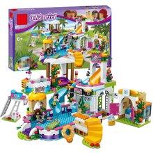 New Heartlake Girls club Summer Pool fit legoings friends figures city model Building block Bricks diy toys girl gift for Christ