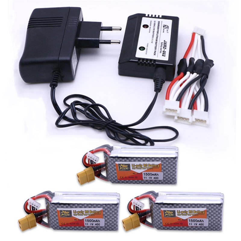 3pcs 11.1V <font><b>1500mAh</b></font> <font><b>3S</b></font> <font><b>Lipo</b></font> Battery 40C MAX <font><b>60C</b></font> XT60 Plug With 1in3 Cable charger Set For RC Car Airplane trucks buggy boats image