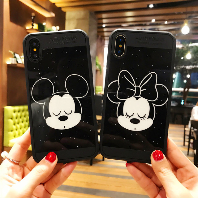 super popular c0c4b 2004e US $2.62 6% OFF|Female tide Mickey Minnie Mouse Black Mirror Phone Case For  iPhone X 8 7 6 plus Cute Cartoon Lovers Rubber Protective Back Cover-in ...