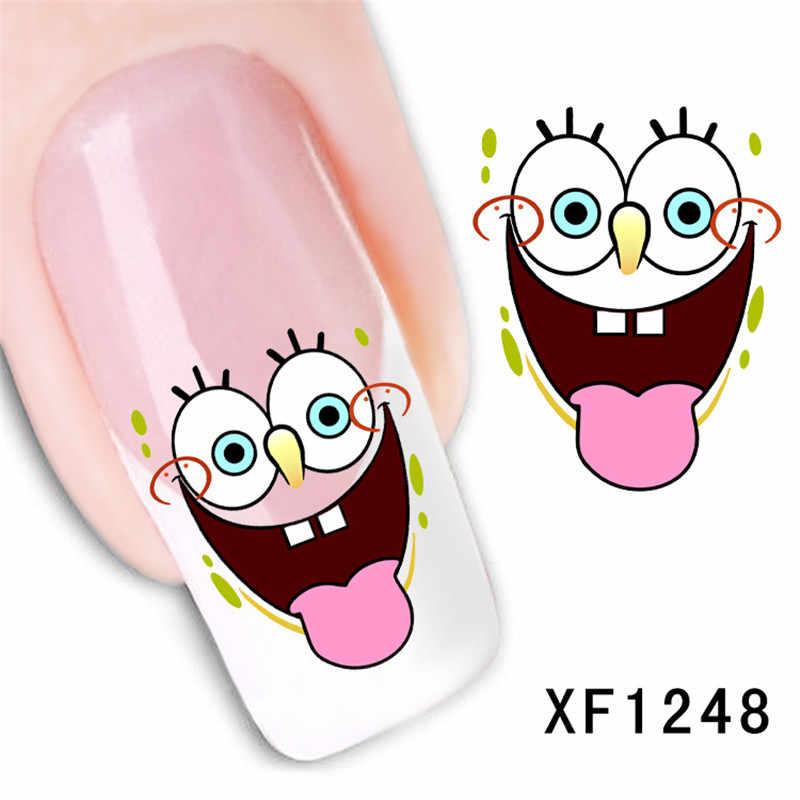 Мультфильм Губка Боб дизайн переводная вода ногти искусство наклейки для девочек женские маникюрные инструменты обертывания для ногтей наклейки оптовая продажа XF1248