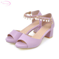 Chainingyee party sexy peep toe summer sandals bead chains rhinestone blue pink purple white chunky high heels women's shoes