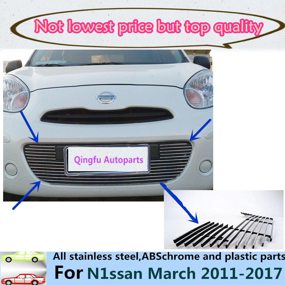 For Nissan March 2011 2012 2013 2014 2015 2016 2017 car panel body cover protection trim Front up Grid Grill Grill racing 1pcs car rear trunk security shield shade cargo cover for nissan qashqai 2008 2009 2010 2011 2012 2013 black beige