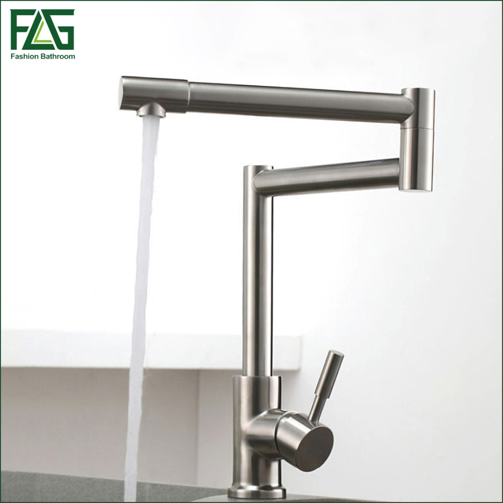 FLG 304 Stainless Steel Lead-free Folding Kitchen Faucet Mixer 360 Degree Swivel Single Handle Nickel Kitchen Sink Taps CS012 premintehdw 304 stainless steel 360 degree swivel rotary ball bearing bracket stand bath medicine cupboard wall floor mount