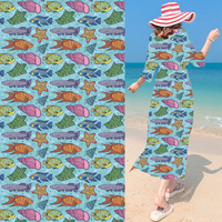 Lovely Fish Shoal Chiffon Digital Printing Haute Couture Fashion Design Material Cloth Tecidos De Patchwork Telas
