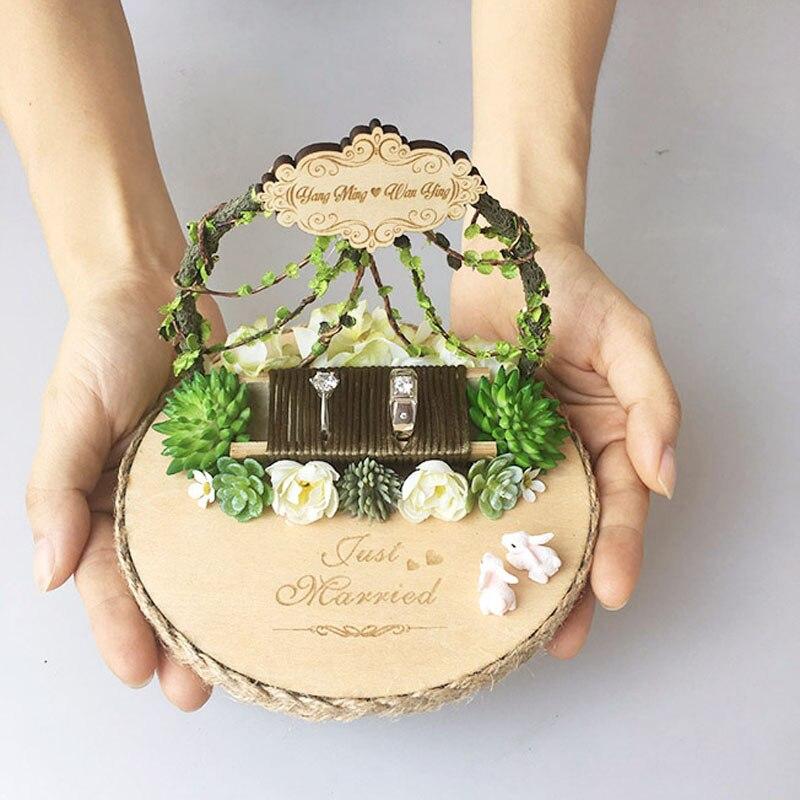 1 pièces lot personnalisé pas cher rustique forêt anneau oreiller coussin anniversaire fiançailles mariage proposition personnalisé anneau porteur titulaire