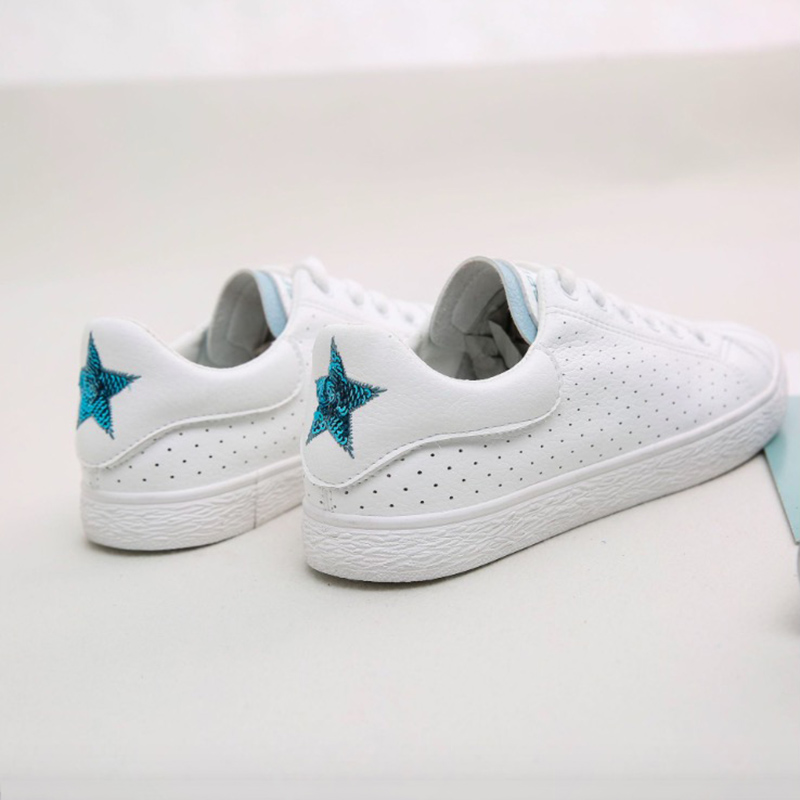 Women Casual Shoes 2018 Spring Summer Leather Shoes Woman Flats Fashion Sweet White lace-Up Breathable Women Sneakers