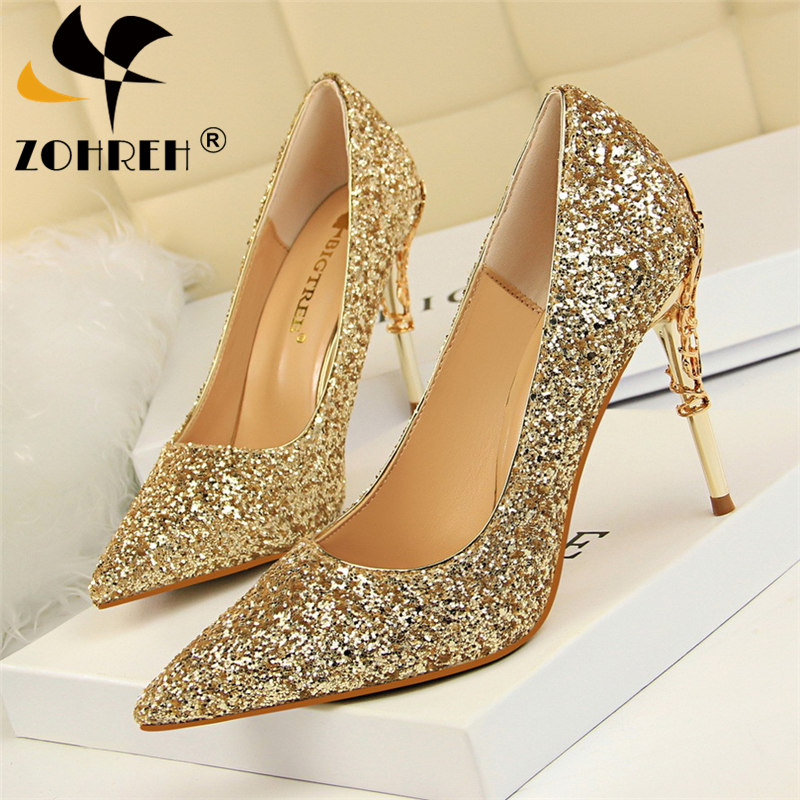 Gold Silver Women Pumps High Thin Heel Metal Pointed Toe Shallow Sexy Ladies Bling Bridal Wedding Women Shoes White High Heels