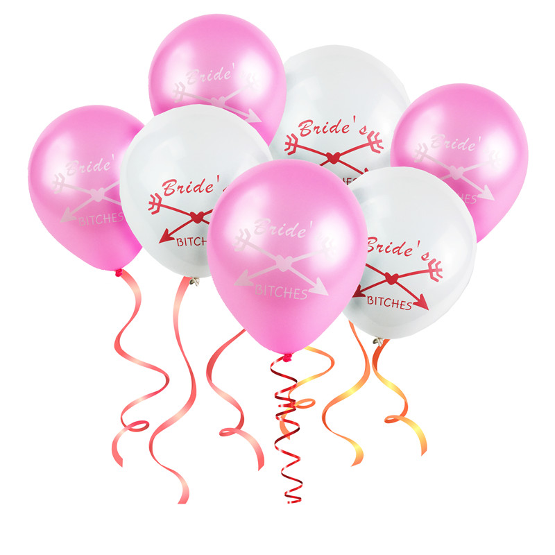 Hot! 50pcs Team Bride Balloons, Bride's Bitches, 10 Inch