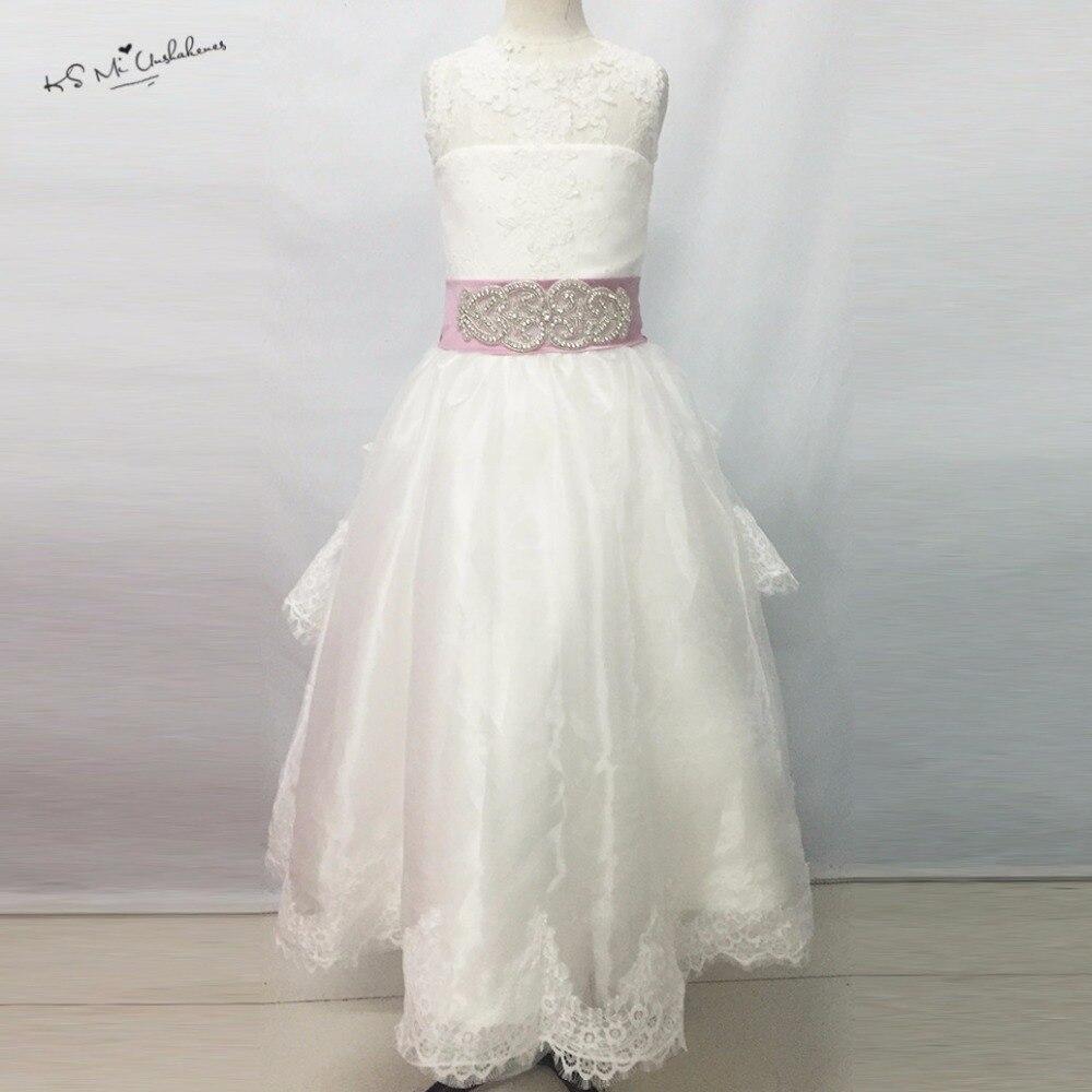 Princesa Pink White Flower Girl Dresses For Weddings Lace Bow Floor