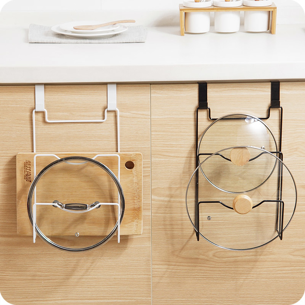 A1 1pc Kitchen cutting board frame without hole wall hanging lid storage rack iron wx8081454