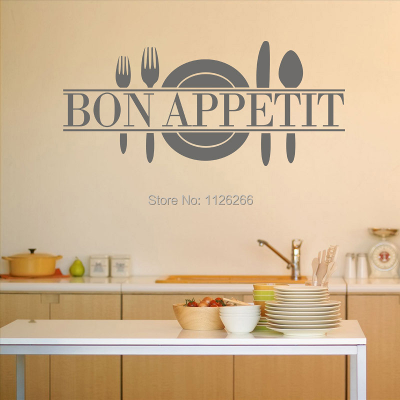 Modern Romantic Bon Appetit French Kitchen Restaurant Decoration Vinyl Wall Sticker Art Wall Decals China