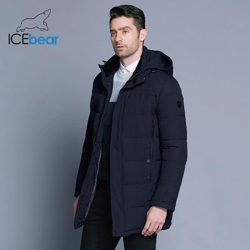 ICEbear 2019 لينة النسيج الشتاء الرجال سترة سماكة عارضة القطن جاكيتات الشتاء منتصف طويلة سترة الرجال العلامة التجارية الملابس 17MD962D-في سترات فرائية مقلنسة من ملابس الرجال على  مجموعة 3
