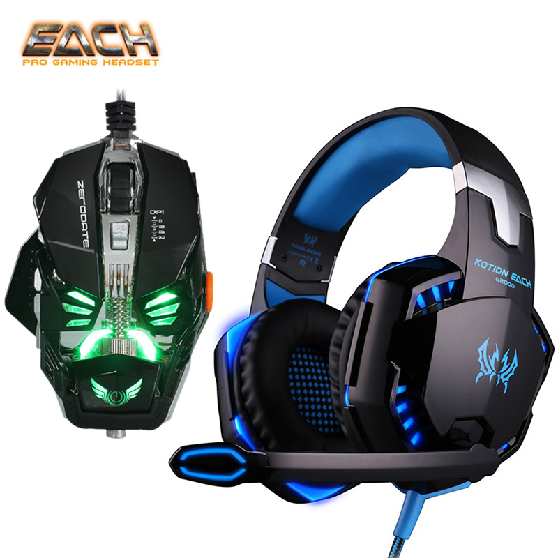 Kotion Each G2000 Professional LED Bass Gaming Headphones Computer Stereo Mic Headset + Macro Programming Game Mouse for PC 2017 hoco professional wired gaming headset bass stereo game earphone computer headphones with mic for phone computer pc ps4
