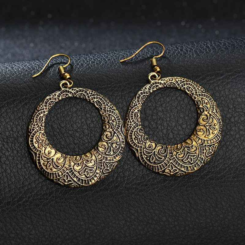 fashion women  Hand carved  Unique  Classic Round  Bangladeshi earring  Gypsy   Egypt  Pakistani jewelry