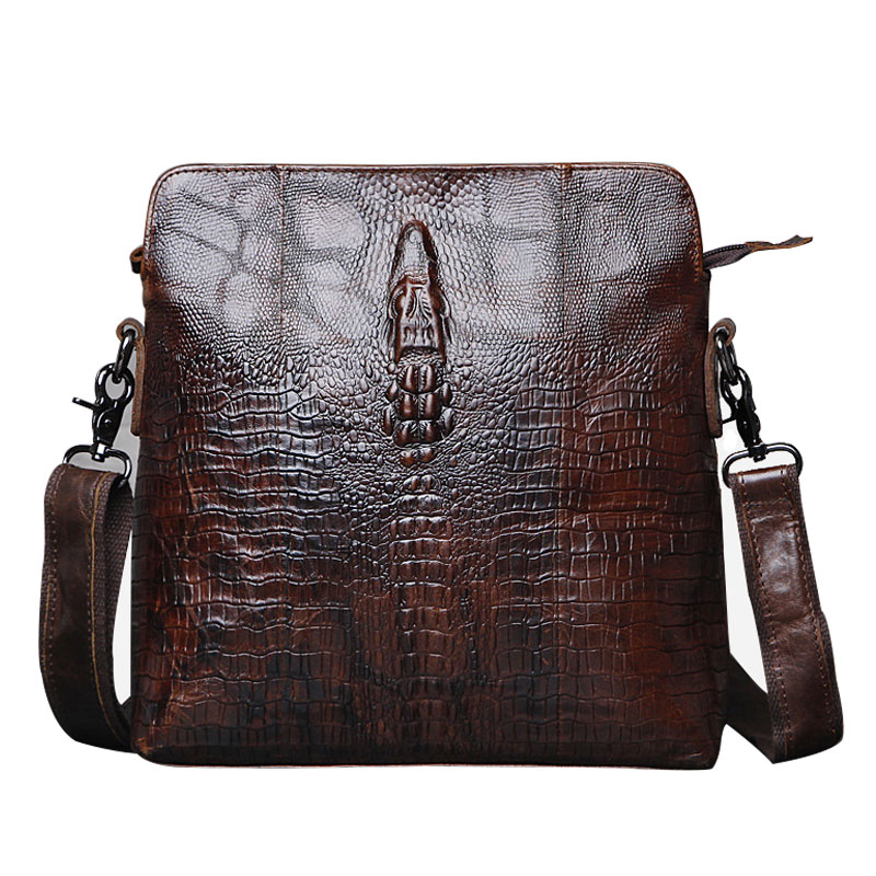 100% Genuine Leather Mens Bags Crossbody Bag For Man Cowhide Shoulder Bag Causal Luxury Handbag Design Alligator Pattern CH008
