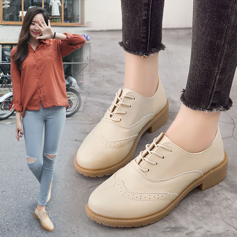 Krasovki Single Shoes Women Cowhide Fashion Dropshipping Large Size Comfortable Wearable Leather Shoes Fashion Lace Casual Shoes in Women 39 s Flats from Shoes