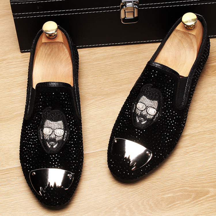 Stephoes 2019 Evening Party Gold Crystals Men's Suede Crafted Slip-on Shoes The Focus of Floor Men Wedding Prom Metal Loafers 41
