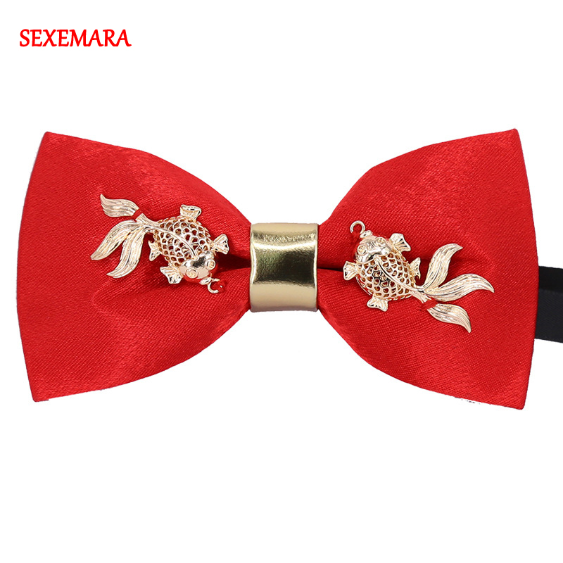 New Luxury Boutique Fashion Metal Goldfish Bow Ties Chinese New Year Style Red Color Bowtie Gravata Goldfish Bow Tie Cravat