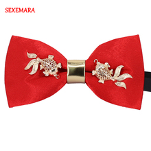New Luxury Boutique Fashion Metal Goldfish Bow Ties Chinese Year Style Red Color Bowtie Gravata Tie Cravat