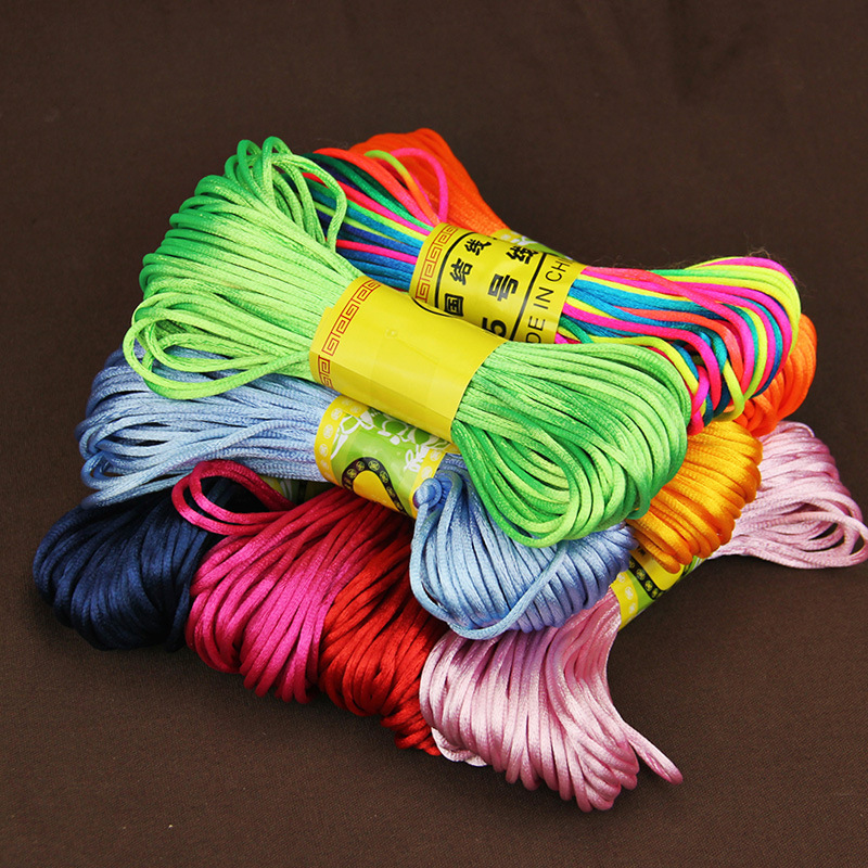 20 Meters Rattail Satin Cord Nylon Macrame Braiding String Knitting Rope Chinese Knot Cord Knot RATTAIL Thread Synthetic Silk