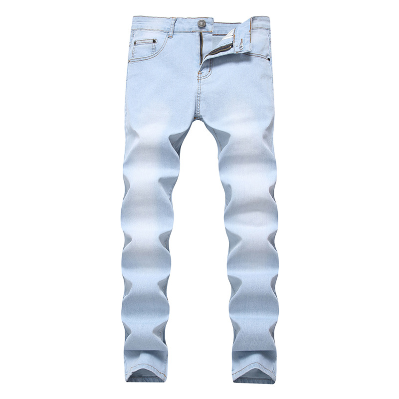 New Men's Stretch Straight Roupas Jeans Korean Casual Solid Slim Trousers Multi-color Washed Hip Hop Denim Male Pants Plus Size
