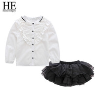 Children Kids Clothes Set Girls Outfits 2018 Girls Costume Long Sleeve Shirts Tutu Skirts 2pcs Suits