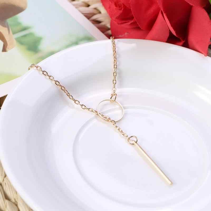 Kobiety Lady Charm biżuteria naszyjnik kwiat geometryczne obojczyk komunikat koło Choker złoty