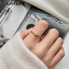 ZJSVER Korean Jewelry 925 Sterling Silver Ring Golden Classic Simple Small Zircon Adjustable Women Ring For Festival Present zjsver 925 sterling silver jewelry rings classic simple infinity chain glossy adjustable ring for women girls party or festival