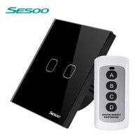 SESOO Remote Control Switch Black 2 Gang 1 Way