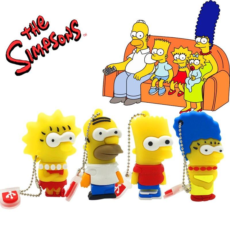 Usb Flash Drive Memoryusb 2.0 16gb 4GB 8GB 16GB 32GB 64GB Memory Usb Wholesale Cartoon Simpsons Pendrive 64 Gbpen Drive Custom