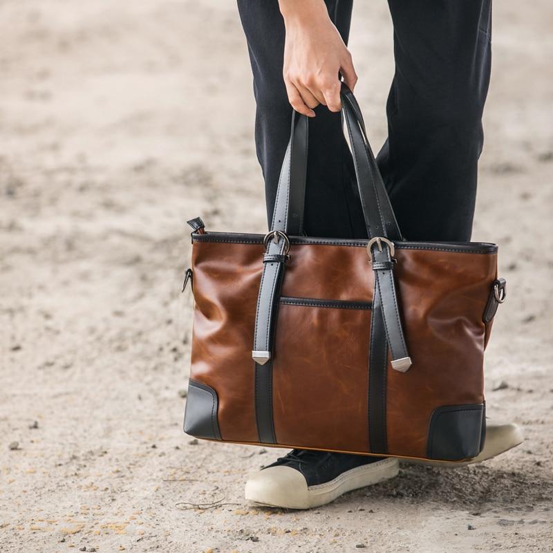 Men/'s PU Leather Shoulder Bag Briefcase Business Handbag Crossbody Tote Bags
