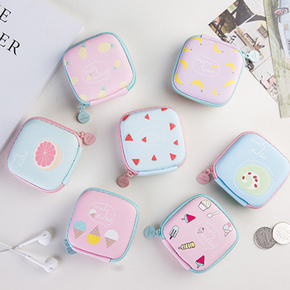 New Fashion Girls Cute Fruit Printing Mini Square Money Bag Case Bag For Earphone Headphone SD Card Small Change Case Coin Purse