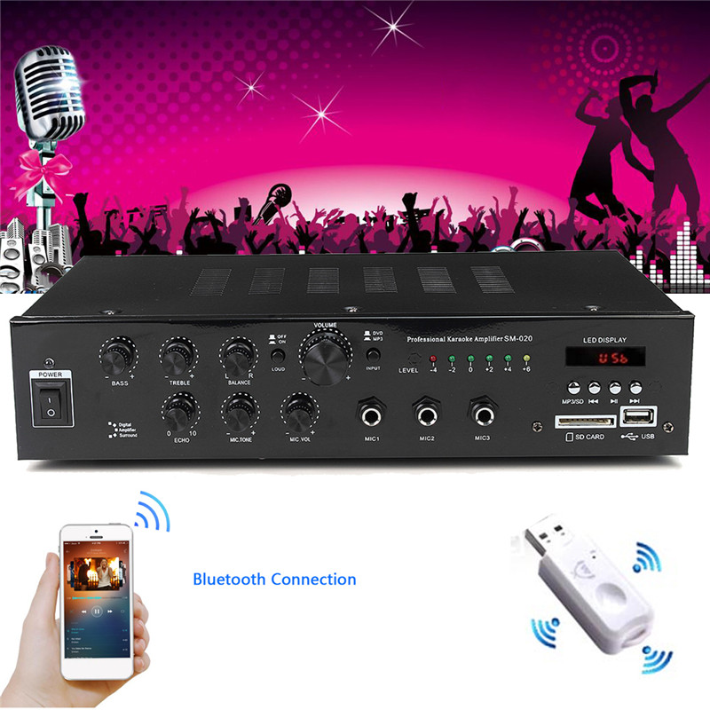MP3 HIFI Home Audio Bluetooth Power Amplifier Home Stereo 4-8 ohm 2 CH 3 MIC KTV Karaoke Mixer USB/SD Card Car Amplifier 220V