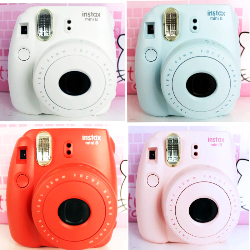 Genuine Fujifilm Instax Mini 8 Instant Film Photo Camera Yellow Blue White Black Pink Purple Free Shipping Gift fujifilm instax mini 8 pink