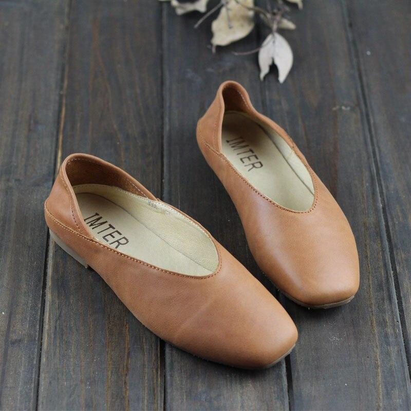 3068 Automne Chaussures De Toe grey Mocassins 1 brown Les Confortable Sur Femmes Black Square Véritable Cuir Slip Plates Dames xSwOdqtP6q