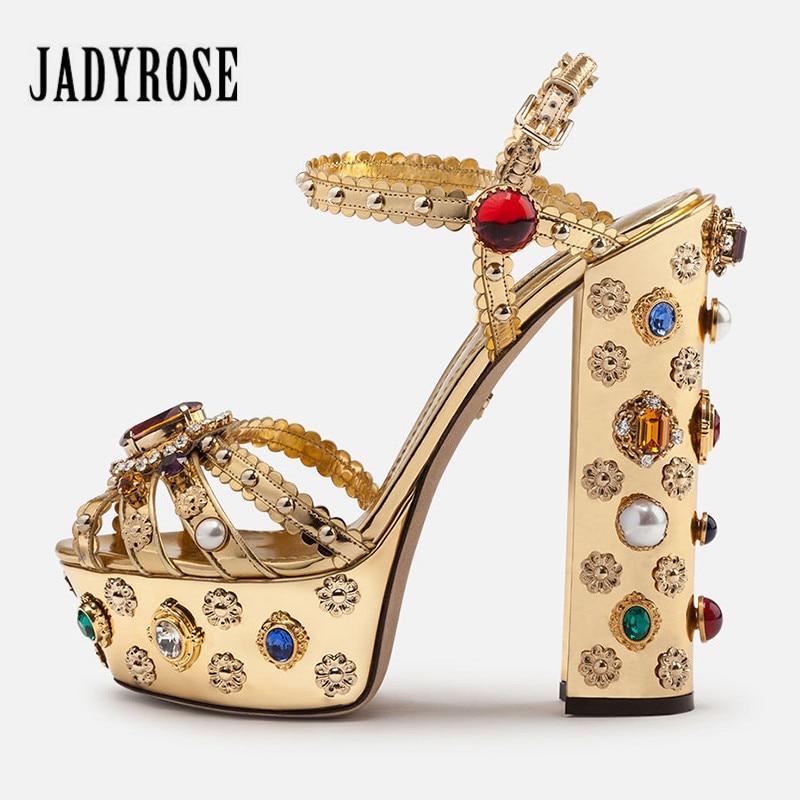 Jady Rose Luxury Gold Women Summer Sandals Handmade Chunky High Heels Wedding Shoes Woman Platform Pumps Ladies ShoesJady Rose Luxury Gold Women Summer Sandals Handmade Chunky High Heels Wedding Shoes Woman Platform Pumps Ladies Shoes