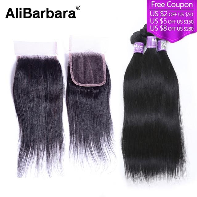 Malaysian Virgin Hair Straight 3pcs with 1pc Closure 8A Unprocessed Human Hair Alibarbara Hair Products Malaysian Straight hair