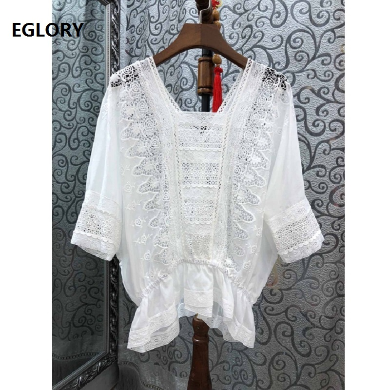 100%Cotton   Blouse     Shirt   2019 Summer Designer Clothing Tops Women V-Neck Hollow Out Embroidery Vintage Tops   Blouse   Batwing   Shirt