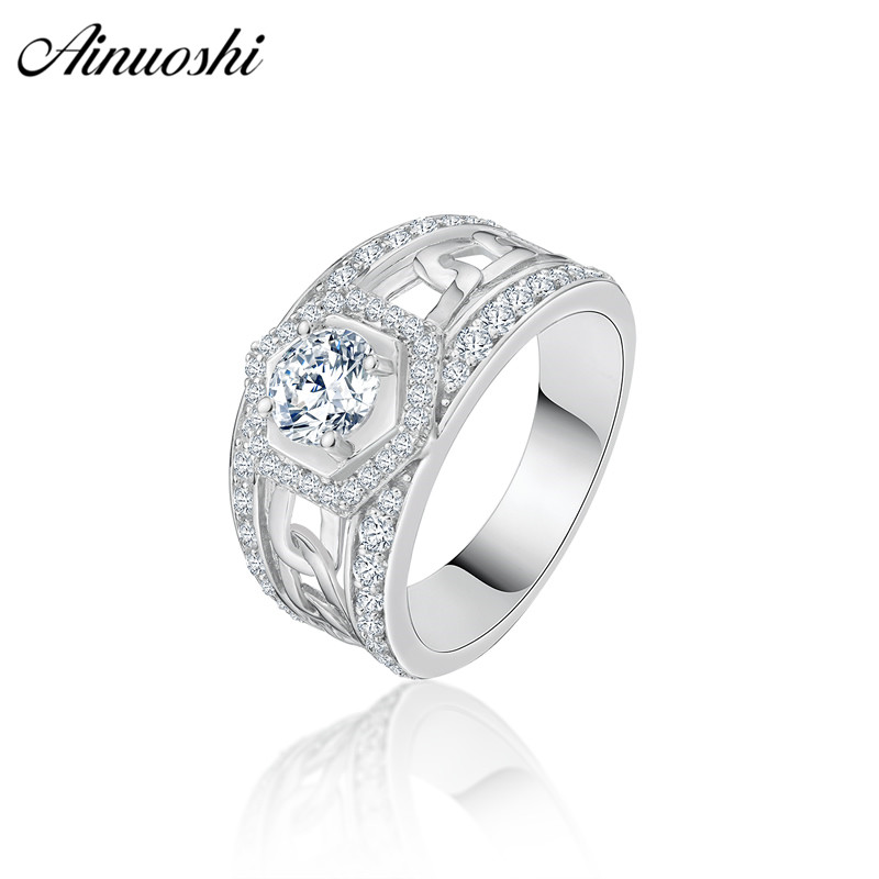 AINOUSHI Trendy 925 Sterling Silver Men Wedding Engagement Ring 1ct Halo Round Cut Geometric Male Silver