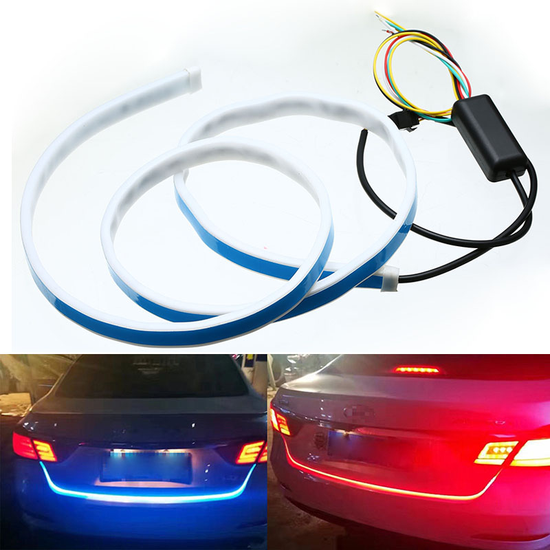 Mayitr Dual Color Flow Type Flowing LED Strip Light Car Trunk DRL Side Turn Signal Rear Light Blue Red Rear Daytime Running Lamp 6pcs 60cm flexible tear strip switchback daytime running light drl with turn signal light 7 dual color fd 4767