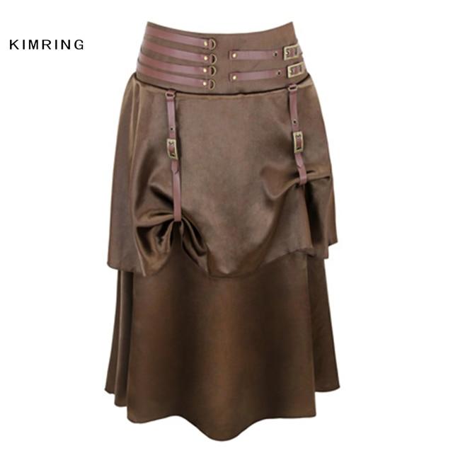 Kimring Brown Vintage Steampunk Skirt Victorian Gothic Skirts High Waist  Slim Long Skirts Retro Burlesque Skirt with Corset b1fd59ad380