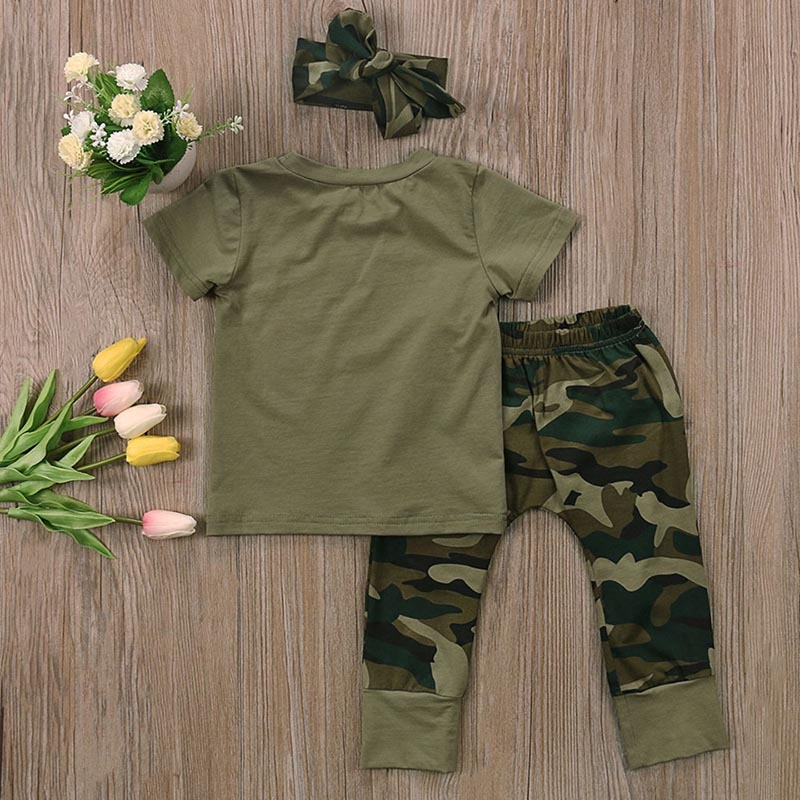 Baby Girls Boys Clothes Set 2018 New Summer Newborn Baby Girl Clothing  Short Sleeve T Shirt Pant Toddler Camouflage Outfits Set 1