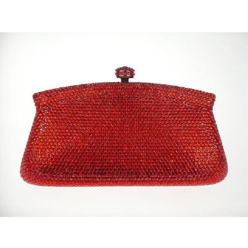 ФОТО 7791-RED Crystal Lady fashion Bridal Party Metal Evening purse clutch bag case box handbag