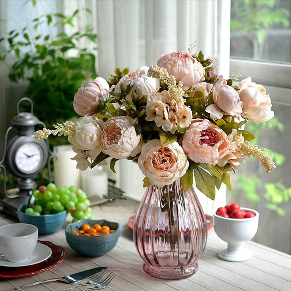 Compare prices on pink peony flower online shoppingbuy low price new artificial light pink decorative peony silk bouquet home decoration wedding festival party decorative flowers freeshipping dhlflorist Images
