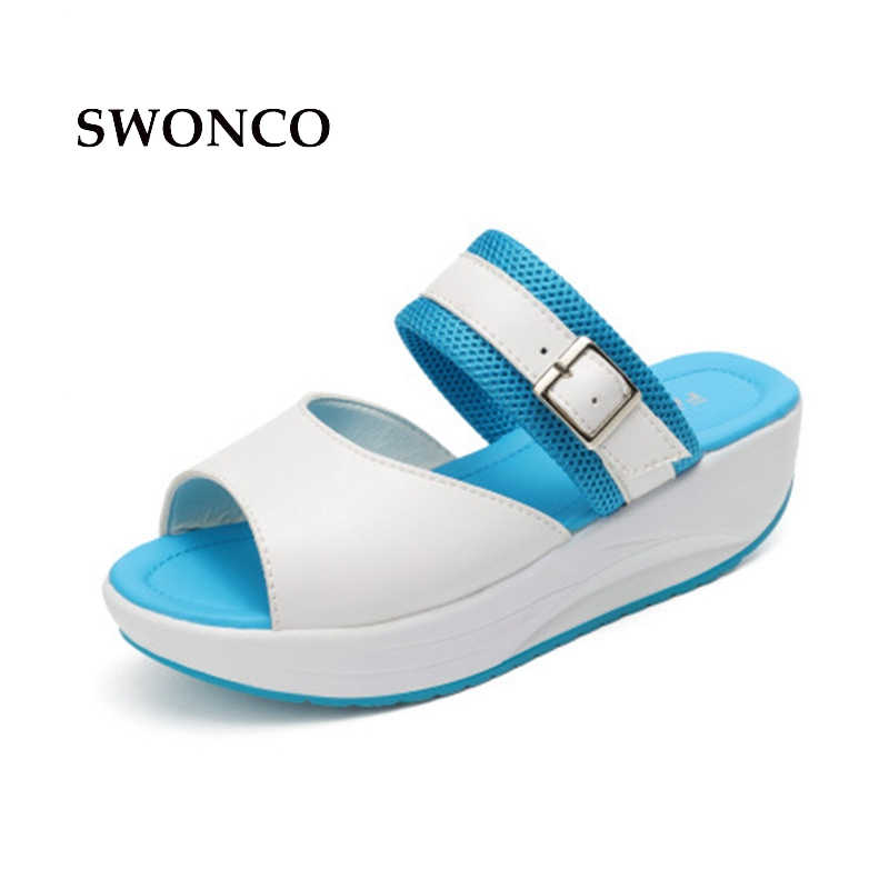 SWONCO Women's Slippers 2018 Summer Fashion Buckle 5cm High Heels Women Shoes Woman Slippers Summer Sandals Female Leather Shoes swonco women s slippers half shoes candy color breathable female slipper 2018 woman slippers summer sandals ladies beach shoes