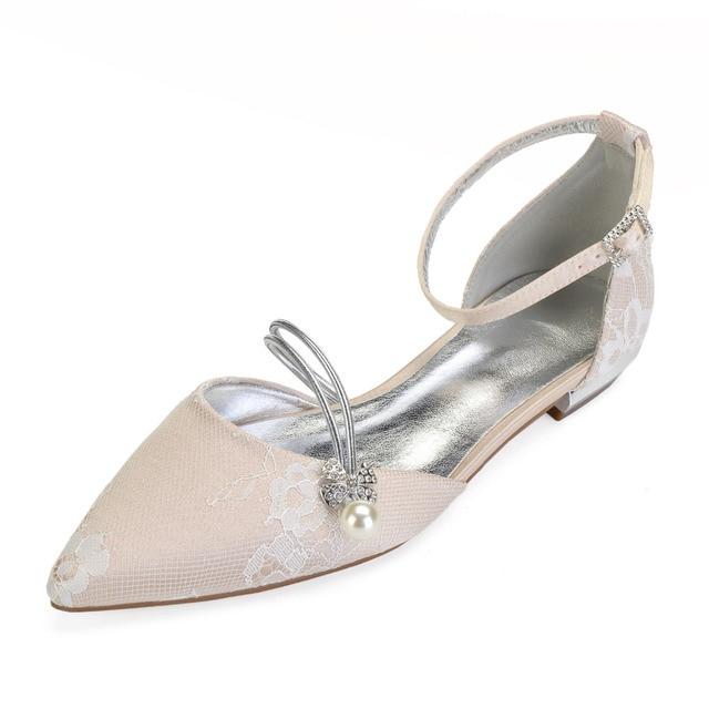 Creativesugar Elegant Pearl Crystal Strap Pointed Toe Lady Flat Lace