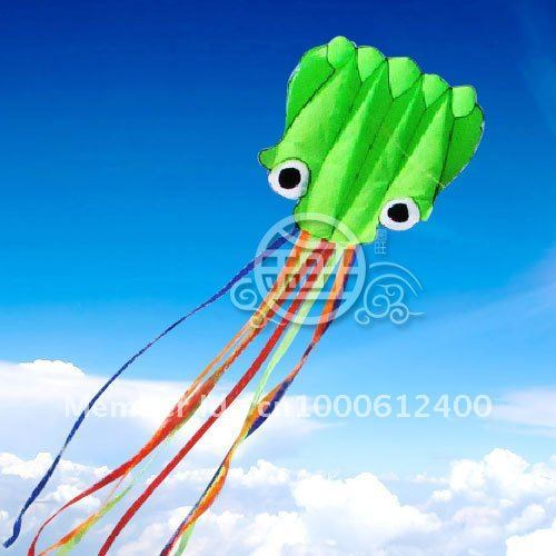 Free Shipping!!hot sale 5.5 m single Line Stunt Green Octopus POWER Sport Kite