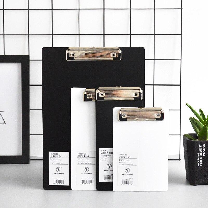1pc Cute PP Small Fresh Clipboard A4 White Black Document Bag File Folder Papelaria Business Financial School Supplie JB03