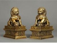 20*15*8.5 см 8.4 кг украшения подарки Медь женские лев ремесел животного чисто латунь дверные Хранитель лев foo Dog Статуя Пара